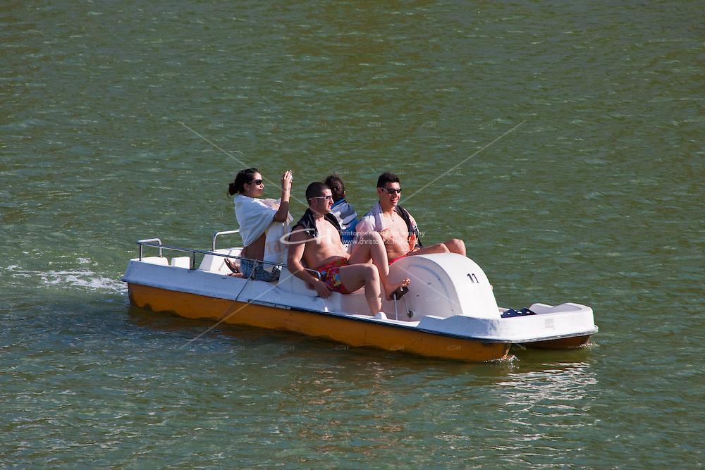 pedal boat on the guadalquivir river, sevilla, spain