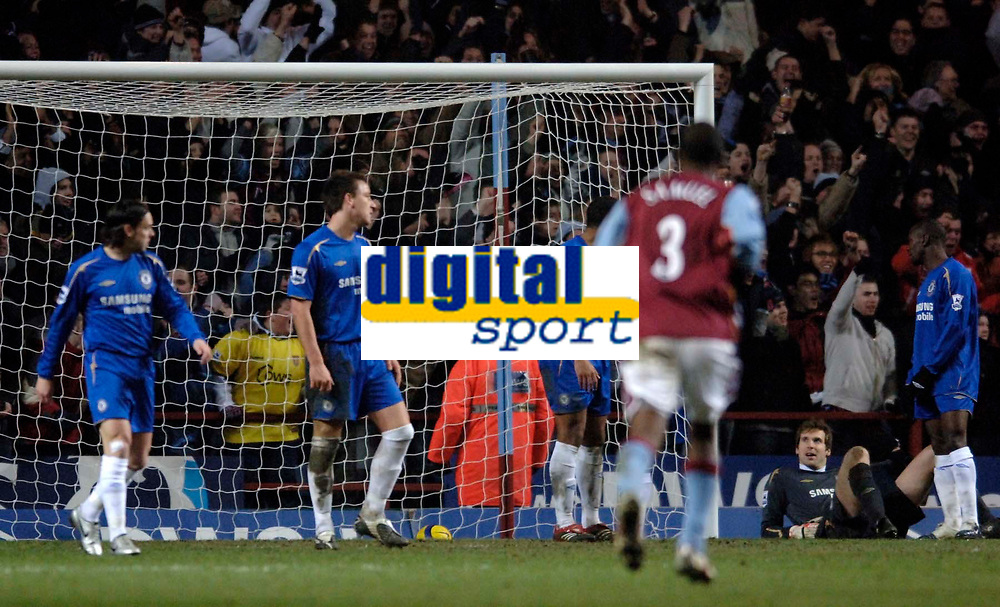Photo: Glyn Thomas.<br />Aston Villa v Chelsea. Barclays Premiership. 01/02/2006.<br />Chelsea's players react in disbelief as Luke Moore equalises for Villa.