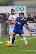 13th July 2019,  Balmoral Stadium, Cove, Scotland; Scottish League Cup football, Cove Rangers versus Dundee; Shaun Byrne of Dundee challenges for the ball with Jamie Masson of Cove Rangers