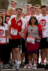 © Licensed to London News Pictures.  14/03/2012. LONDON, UK. Jeremy Hunt MP (red tshirt). Start of the Sport Relief Westminster Mile run by MPs and Peers in St James Park each year in aid of the charity. The Mile was won by George Eustice, MP for Camborne Redruth and Hayle (not pictured) in a time of 5 minutes 28 seconds. Photo credit :  Cliff Hide/LNP