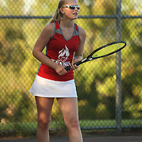 Southwestern's Victoria VanEvery returns a volley durng first single action against Fredonia 10-4-16 photo by Mark L. Anderson