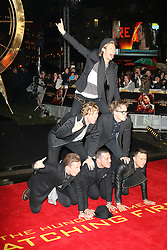 James Bourne; Matt Willis; Tom Fletcher; Danny Jones; Dougie Poynter; Harry Judd, The Hunger Games: Catching Fire - World film premiere, Leicester Square, London UK, 11 November 2013, Photo by Richard Goldschmidt © Licensed to London News Pictures. Photo credit : Richard Goldschmidt/Piqtured/LNP