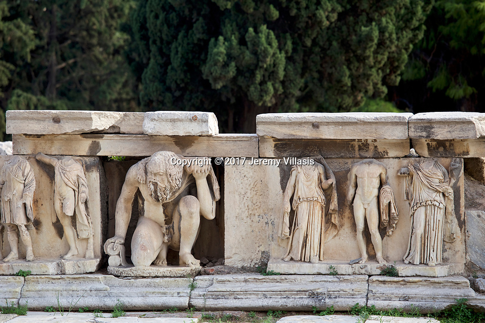 Hadrianic reliefs at the hyposcenium (stage front) of the Theater of Dionysus in the South Slope of the Athenian Acropolis.