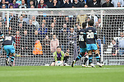 Sheffield Wednesday goalkeeper Keiren Westwood saves the ball during the Sky Bet Championship match between Derby County and Sheffield Wednesday at the iPro Stadium, Derby, England on 23 April 2016. Photo by Jon Hobley.