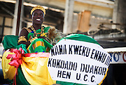 Chief Nana Kweku Ennu III sits in a palaquin carried by followers during the parade held on the occasion of the annual Oguaa Fetu Afahye Festival in Cape Coast, Ghana on Saturday September 6, 2008..