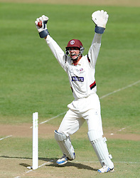 Somerset's Alex Barrow appeals for a stumping in vain. - Photo mandatory by-line: Harry Trump/JMP - Mobile: 07966 386802 - 29/04/15 - SPORT - CRICKET - LVCC Division One - County Championship - Somerset v Middlesex - Day 4 - The County Ground, Taunton, England.