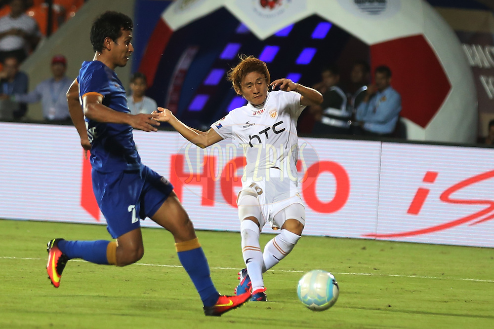 Katsumi Yusa of NorthEast United FC during match 7 of the Indian Super League (ISL) season 3 between Mumbai City FC and NorthEast United FC held at the Mumbai Football Arena in Mumbai, India on the 7th October 2016.<br /> <br /> Photo by Faheem Hussain / ISL/ SPORTZPICS