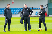 (LtoR) Heart of Midlothian coach Jon Daly, Heart of Midlothian manager Craig Levein and coach Liam Fox watch the team train at The Oriam Sports Performance Centre, Heriot Watt University, Edinburgh, Scotland on 24 September 2019, ahead of the Betfred Scottish Football League Cup quarter-final match against Aberdeen. Picture by Malcolm Mackenzie