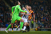 Millwall striker Steve Morison (20) with his eyes on the ball  during the EFL Sky Bet League 1 match between Bradford City and Millwall at the Northern Commercials Stadium at Valley Parade, Bradford, England on 21 January 2017. Photo by Simon Davies.