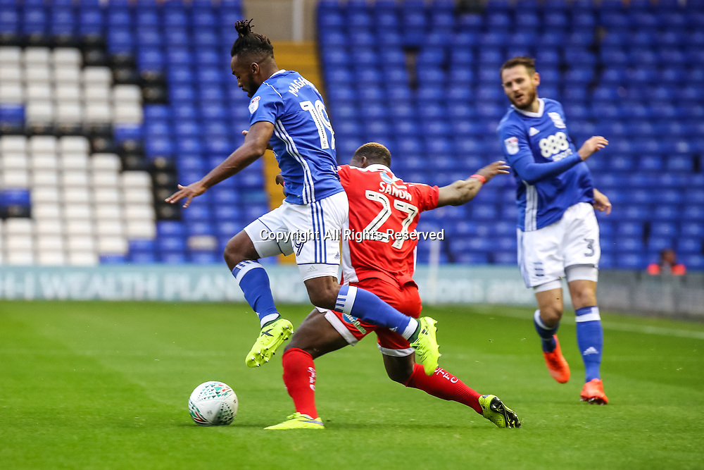 August 8th 2017, St Andrews, Birmingham, England; Carabao Cup First Round; Birmingham City versus Crawley Town; Jacques Maghoma of Birmingham City FC rides a tackle on the left wing