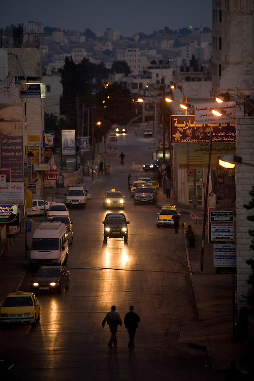 A road in Ramallah by night. 16th May 2008