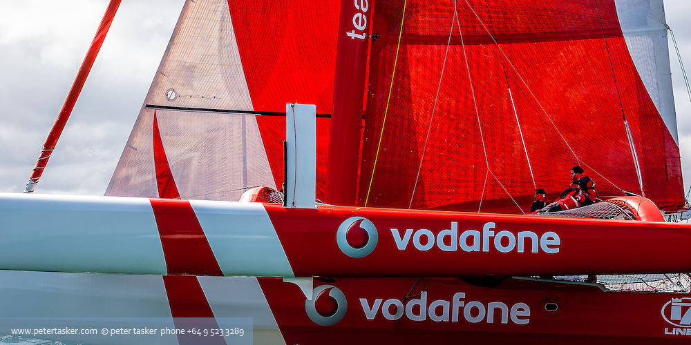 Team Vodafone Sailing. Simon Hull's record breaking 18 metre trimaran sailing at speed in Auckland's Waitemata Harbour.
