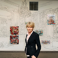 "Artist Mary Ann Strandell stands in front of ""The Boucher Room,"" a 384 inch by 134 inch drawing with lenticular print installation, part of her exhibit titled ""The Moveable Salon and Other Frontiers Exhibition"" in Gallery A on Friday, February 24, 2012  at the Visual Arts Center in The Washington Pavilion for the Arts."