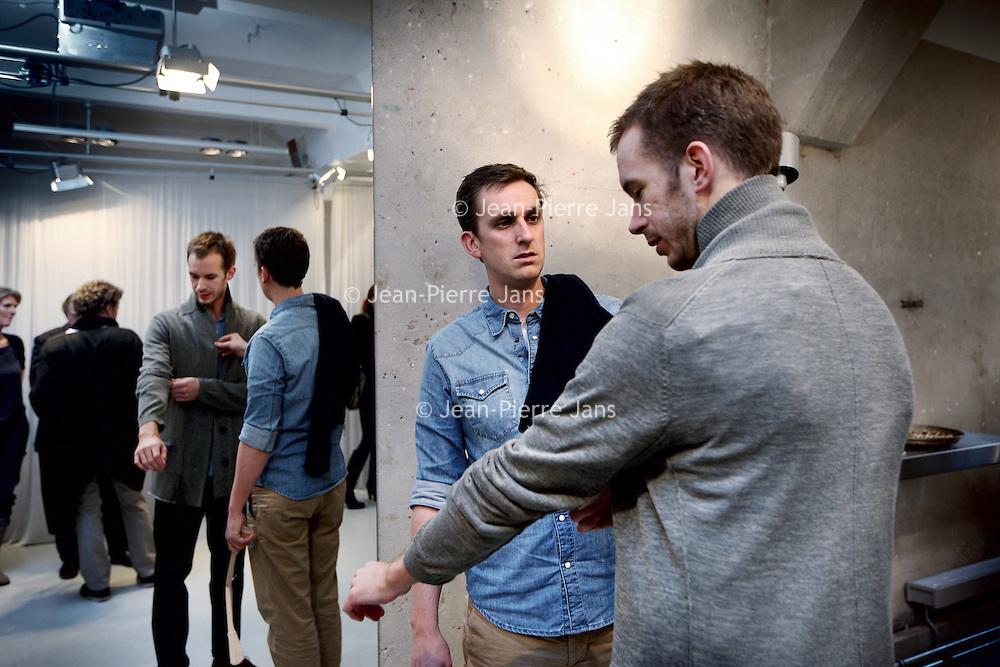 Nederland, Amsterdam , 19 februari 2011..n januari 2011 lanceren Mark van Vorstenbos en Twan Janssen de eerste collecties van knitwear en jersey labels: 'you as me' (female) en 'me as you' (male). De lancering van de labels wordt echter als geen ander. De initiatiefnemers Mark en Twan betrekken hun potentiële klanten bij het oprichten van hun labels met een innovatief financieringsconcept: 500 mensen investeren elk EUR 500,- in twee nieuwe merken. Vanaf 20 september kunnen modeliefhebbers via de sites youasme.com en measyou.com lid worden van de 'family of founders'. Leden krijgen hierdoor privileges zoals korting op kledingstukken uit de collecties en uitnodigingen voor exclusieve previews. Met deze community vergroten ze de betrokkenheid van klanten bij deze duurzame, hoogwaardige modelabels...Foto:Jean-Pierre Jans