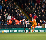 10th April 2018, Tannadice Park, Dundee, Scotland; Scottish Championship football, Dundee United versus St Mirren; Billy King of Dundee United scores for 1-0