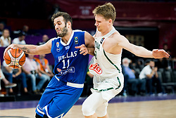 Nikos Pappas of Greece vs Marius Grigonis of Lithuania during basketball match between National Teams of Lithuania and Greece at Day 10 in Round of 16 of the FIBA EuroBasket 2017 at Sinan Erdem Dome in Istanbul, Turkey on September 9, 2017. Photo by Vid Ponikvar / Sportida