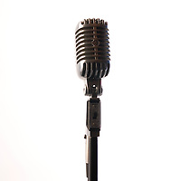 A 1940's style radiator microphone on white background, facing the camera.