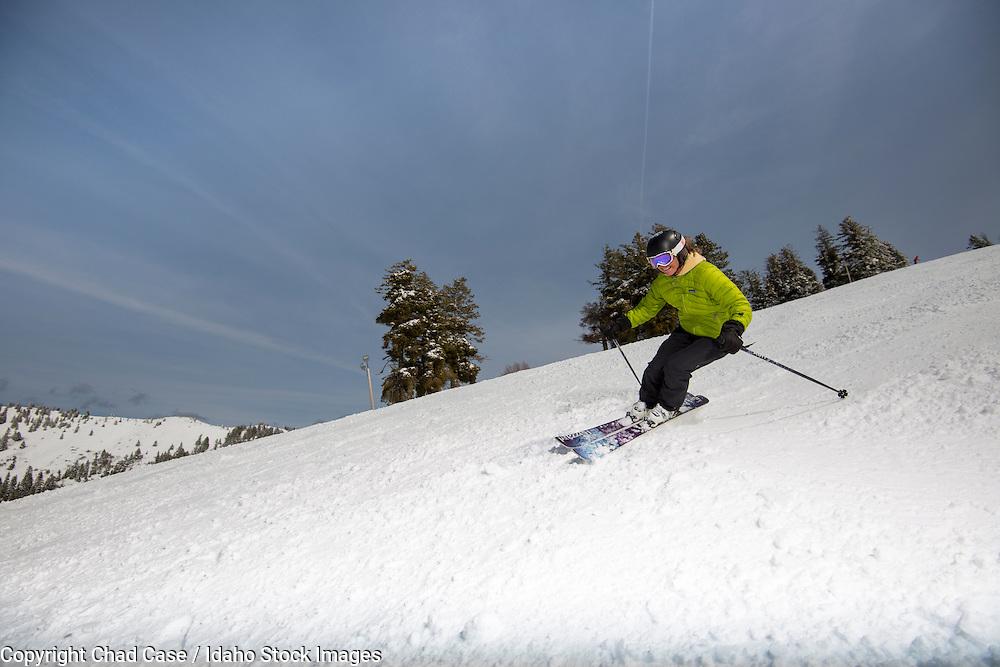 Enjoying the snow at Bogus Basin Resort in Boise Idaho. Model released.