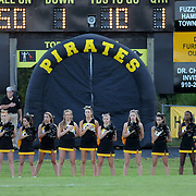 Topsail High School cheerleaders observe the National Anthem before the start of their football game against Pender High School Friday August 30, 2013 at Topsail High School. (Jason A. Frizzelle) This collection of images is from the 2013 High School Football in the Cape Fear region.