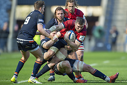 March 30, 2019 - Edinburgh, Scotland, United Kingdom - Peter O'Mahony of Munster with the ball  tackled during the Heineken Champions Cup Quarter Final match between Edinburgh Rugby and Munster Rugby at Murrayfield Stadium in Edinburgh, Scotland, United Kingdom on March 30, 2019  (Credit Image: © Andrew Surma/NurPhoto via ZUMA Press)