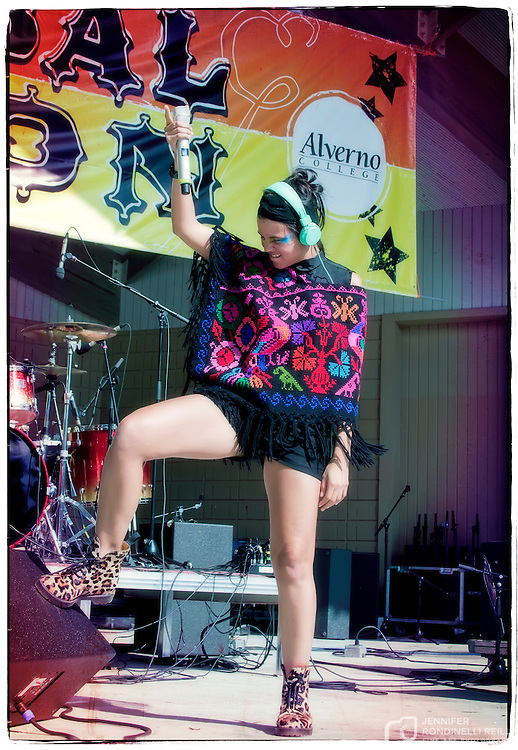 Bomba Estereo vocalist Liliana Saumet  performing at Alverno Presents: Global Union in Milwaukee. Photo by Jennifer Rondinelli Reilly.