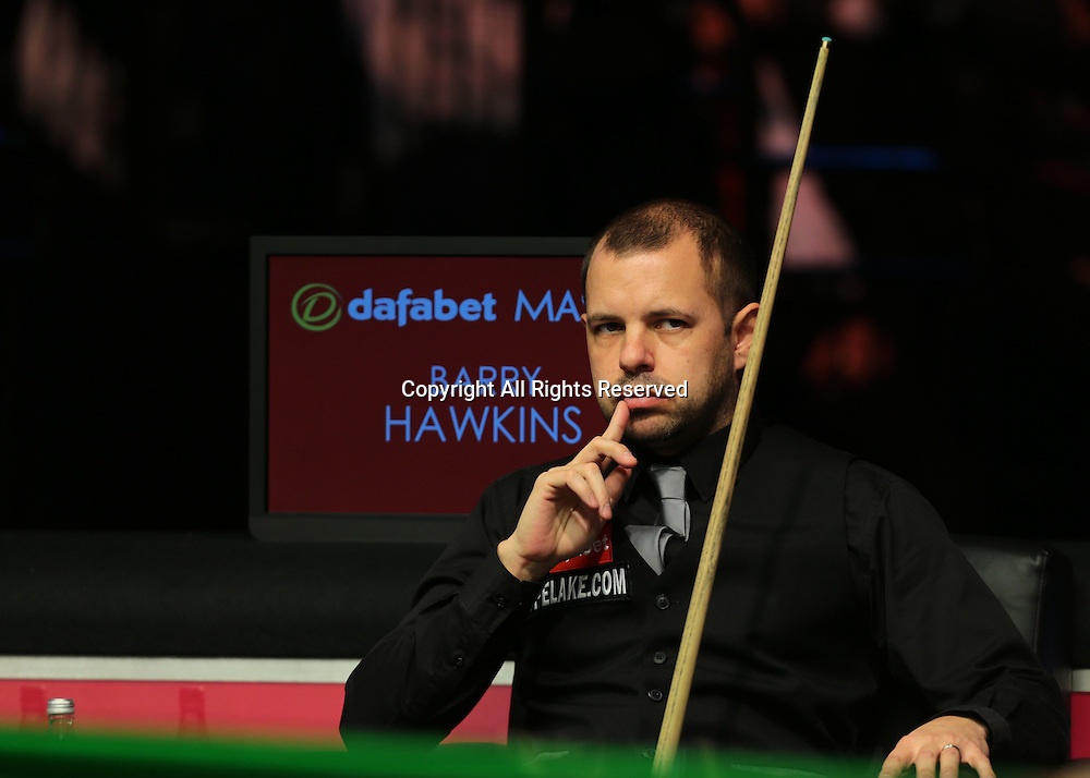 16.01.2016.  Alexandra Palace, London, England. Masters Snooker. Semi Finals. Barry Hawkins reflects after loosing frame four, 2 frames all