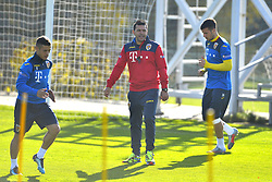 November 13, 2017 - Mogosoaia, Romania - Gabriel Torje, Romania's coach Cosmin Contra (C) and George Tucudean of Romania Football Team during a training session at Mogosoaia, Romania on 13 November 2017. (Credit Image: © Alex Nicodim/NurPhoto via ZUMA Press)