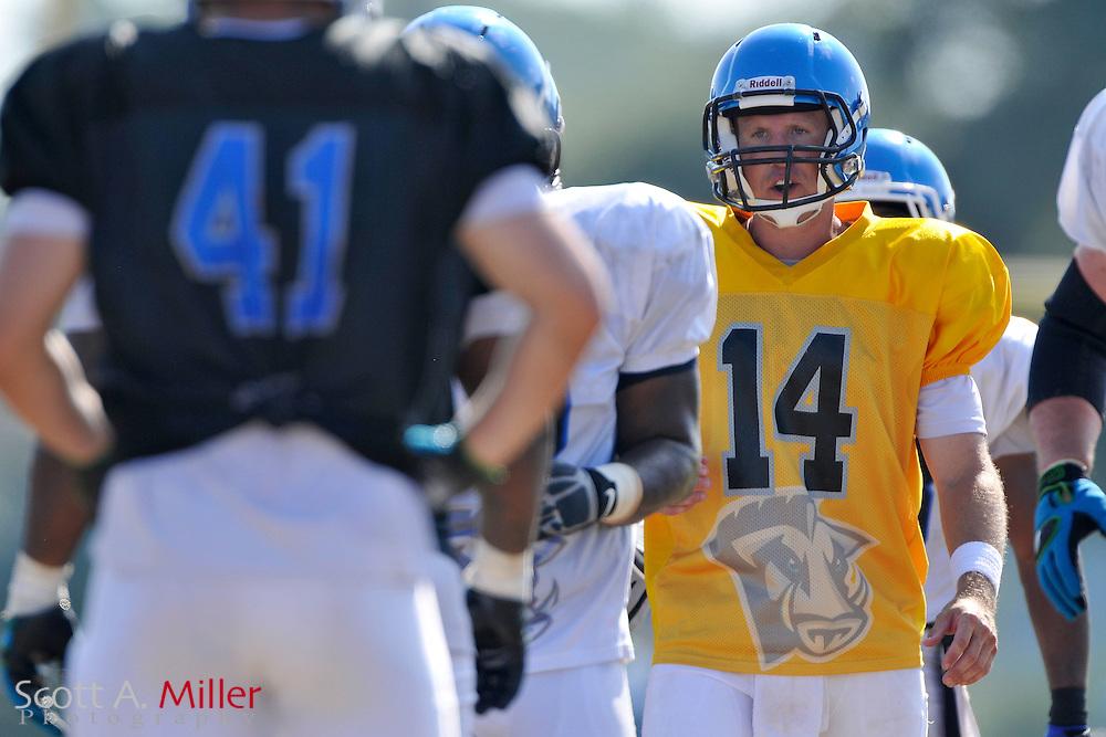 Sep. 2, 2010; Orlando, FL, USA; Florida Tuskers quarterback Chris Greisen (14) during training camp at Thunder Field. .©2010 Scott A. Miller