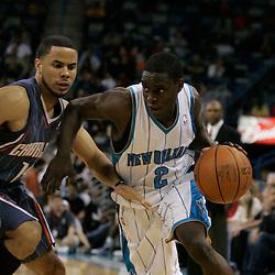 Apr 07, 2010; New Orleans, LA, USA; New Orleans Hornets guard Darren Collison (2) drives past Charlotte Bobcats guard D.J. Augustin (14) during the second half at the New Orleans Arena. The Bobcats defeated the Hornets 104-103. Mandatory Credit: Derick E. Hingle-US PRESSWIRE