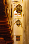 FEZ, MOROCCO - 1ST FEBRUARY 2018 - Streets and alleyways in the old Medina District of Fez connecting to the Al-Karaouine Mosque and University complex. <br />