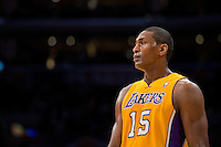 12 February 2013: Forward (15) Metta World Peace of the Los Angeles Lakers against the Phoenix Suns during the first half of the Lakers 91-85 victory over the Suns at the STAPLES Center in Los Angeles, CA.