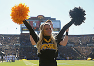 November 10 2012: An Iowa Hawkeyes cheerleader celebrates a score during the NCAA football game between the Purdue Boilermakers and the Iowa Hawkeyes at Kinnick Stadium in Iowa City, Iowa on Saturday, November 10, 2012. Purdue defeated Iowa 27-24.