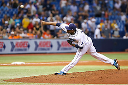 July 25, 2017 - St. Petersburg, Florida, U.S. - WILL VRAGOVIC   |   Times.Tampa Bay Rays relief pitcher Alex Colome (37) throwing the ninth inning of the game between the Baltimore Orioles and the Tampa Bay Rays at Tropicana Field in St. Petersburg, Fla. on Tuesday, July 25, 2017. The Tampa Bay Rays beat the Baltimore Orioles 5-4. (Credit Image: © Will Vragovic/Tampa Bay Times via ZUMA Wire)