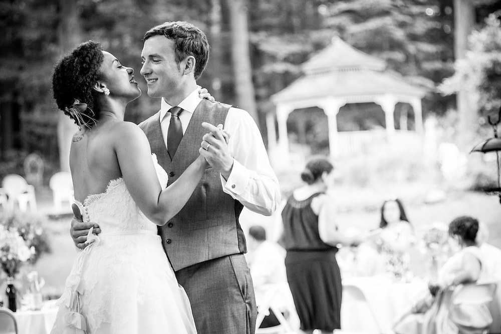 A bride and groom share their first dance in Brattleboro, VT.
