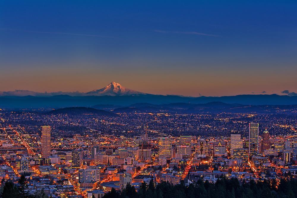 Mount Hood and the Portland skyline.