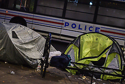 Evacuation of a makeshift camp near Stalingrad metro station in Paris on November 4, 2016, one of several camps sprouting up around the French capital. Over 3,800 migrants were evacuated by the police to migrant centers in the Paris area. Photo by Yann Korbi/ABACAPRESS.COM