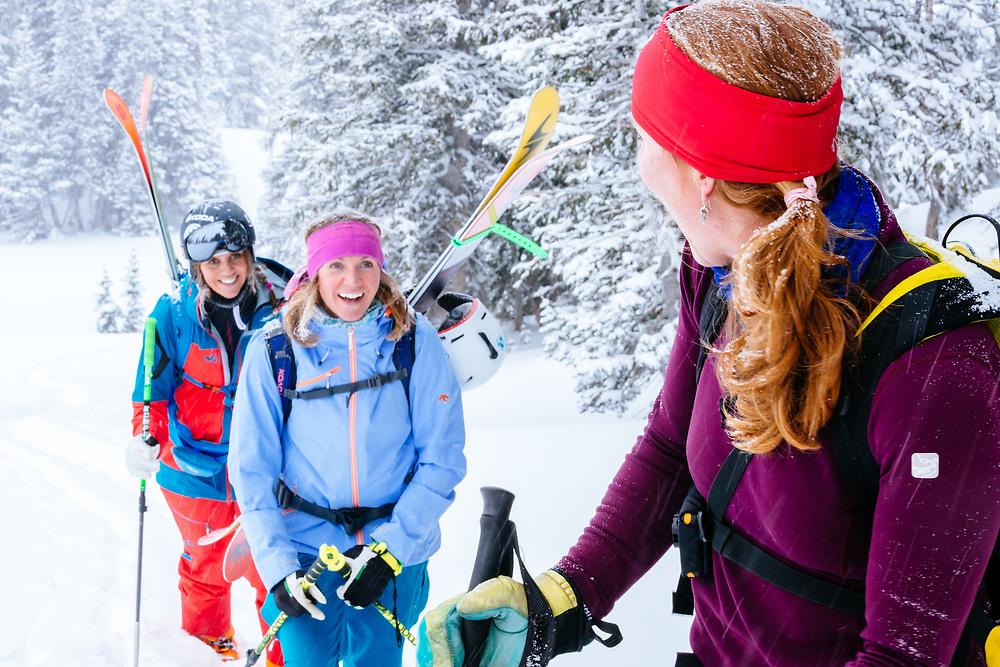 (L-R & B-F) Keeley Kelleher, Eva Walkner, and Crystal Wright hike into the Teton backcountry.