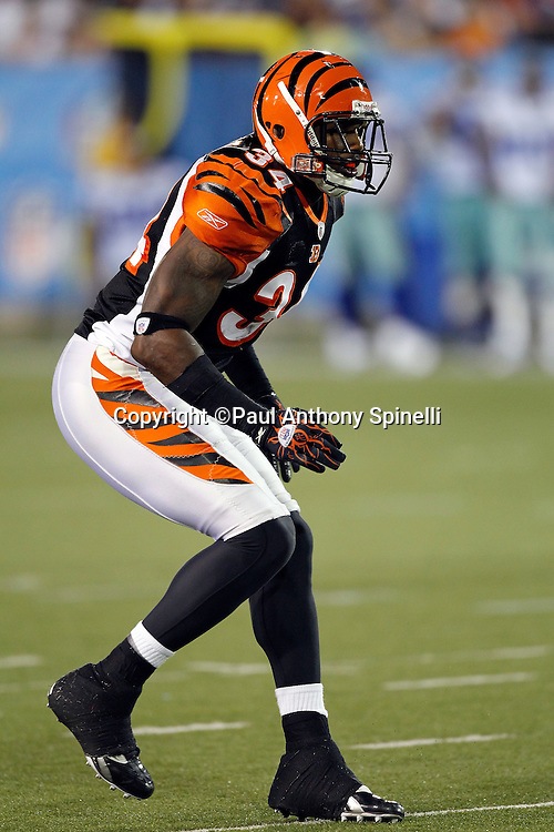 Cincinnati Bengals safety Kyries Hebert (34) makes a move during the NFL Pro Football Hall of Fame preseason football game between the Dallas Cowboys and the Cincinnati Bengals on Sunday, August 8, 2010 in Canton, Ohio. The Cowboys won the game 16-7. (©Paul Anthony Spinelli)