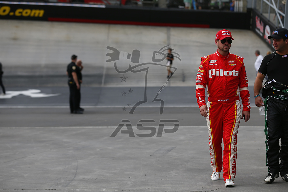 August 18, 2017 - Bristol, Tennessee, USA: Michael Annett (5) hangs out on pit road prior to qualifying for the Food City 300 at Bristol Motor Speedway in Bristol, Tennessee.
