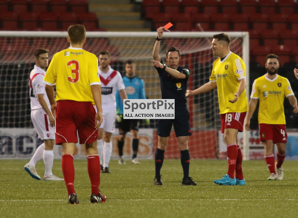 Albion Rover's John Gemmell receives a straight red card during the Airdrieonians FC V Albion Rovers FC Scottish League One 31st October 2015 ©Edward Linton | SportPix.org.uk