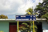 Road sign in La Maya, Santiago de Cuba, Cuba.