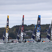 NEWPORT, RHODE ISLAND- OCTOBER 22:  The teams of Turkey, Great Britain, Japan and Sweden at the start of a heat during the Red Bull Foiling Generation World Final 2016 on October 22, 2016 in Narragansett Bay, Newport, Rhode Island. (Photo by Tim Clayton/Corbis via Getty Images)