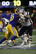 Los Angeles Rams defensive end Michael Brockers (90) in action during the NFL Super Bowl 53 football game against the New England Patriots on Sunday, Feb. 3, 2019, in Atlanta. The Patriots defeated the Rams 13-3. (©Paul Anthony Spinelli)