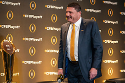 LSU head coach Ed Orgeron during a news conference ahead for the College Football playoffs, Thursday, Dec. 12, 2019, in Atlanta. Oklahoma will face LSU in the Chick-fil-A Peach Bowl. (Paul Abell via Abell Images for the Chick-fil-A Peach Bowl)