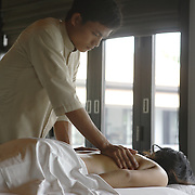 Massage in the spa at the Nam Hai luxury resort in Danang, Vietnam.