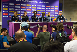 London, 03 August 2017. London, 03 August 2017. L-R Allyson Felix, Jenny Simpson, Dalilah Muhammad, Christian Coleman, Christian Taylor, and Ryan Crouser at the Team USATF press conference ahead of the IAAF World Championships London 2017 at the London Stadium.