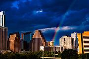 Austin Skyline with Rainbow, Austin, Texas, July 26, 2017.