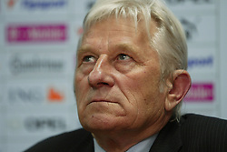 TEPLICE, CZECH REPUBLIC - Wednesday, April 30, 2003: Czech Republic's coach Karel Bruckner at a post match press conference following his side's 4-0 friendly victory over Turkey at the Teplice Stadion Na Stinadlech. (Pic by David Rawcliffe/Propaganda)