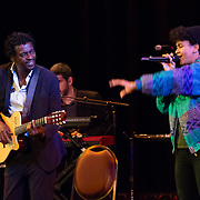 Seu Jorge is joined on stage by his daughter during his performance at The Music Hall in Portsmouth NH, August 18, 2018