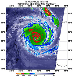 March 11, 2019 - Mozambique - NASA Infrared of Cyclone Idai in Mozambique Channel. Tropical cyclone Idai cut a swathe through Mozambique, Zimbabwe and Malawi, the confirmed death toll stood at more than 300 and hundreds of thousands of lives were at risk. (Credit Image: © NASA Earth/ZUMA Wire/ZUMAPRESS.com)